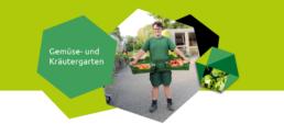 Eine junge Frau trägt zwei volle Gemüsekisten in der Orangerie Aukamm.
